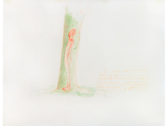 Bruce Nauman (American, 1941)Study for the Right Half of My Body Carved into a Tree 18 3/4 x 23 3/4i