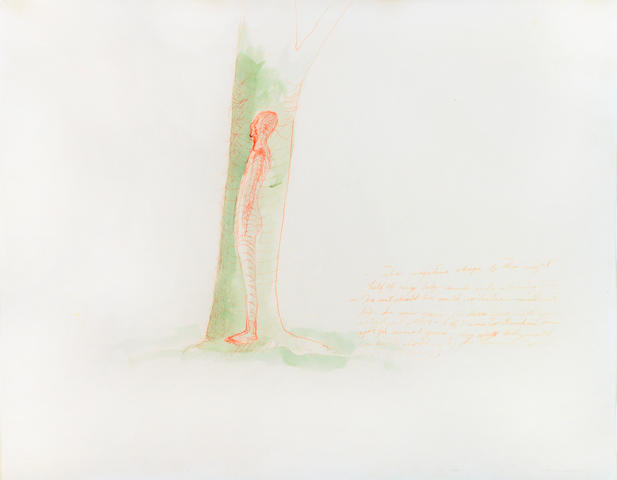 Bruce Nauman (American, b.1941) Study for the Right Half of My Body Carved into a Tree, c.1967 18 3/4 x 23 3/4in (47.5 x 60cm)