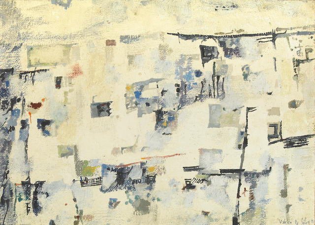 Maria-Helena Vieira  da Silva (French, 1909-1992)Untitled, 1958 14 x 19 1/2in (35.5 x 49.5cm)