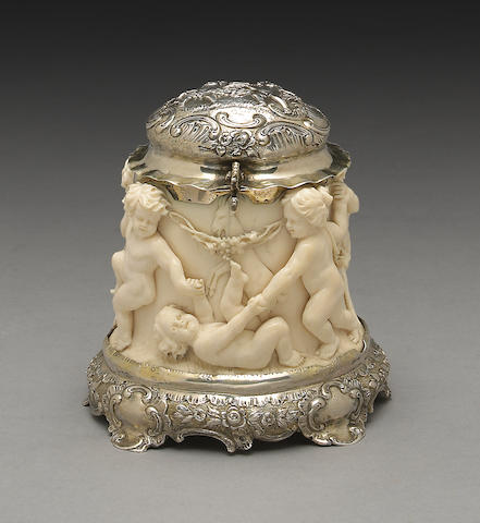 Continental Silver and Carved Ivory Table Box