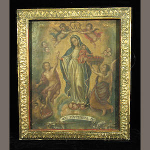 Spanish Colonial SchoolThe Assumption of the Virgin Mary 20 x 16 1/4in