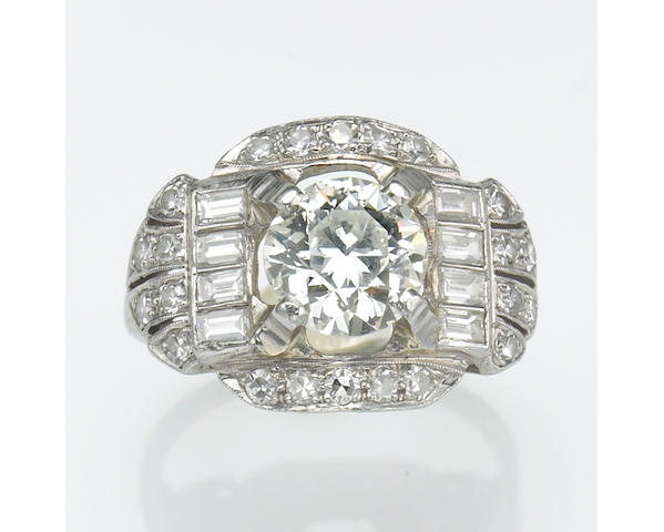 An art deco, diamond, platinum and 18k white gold ring