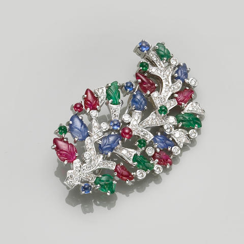 A ruby, sapphire, emerald, diamond and 18k white gold brooch