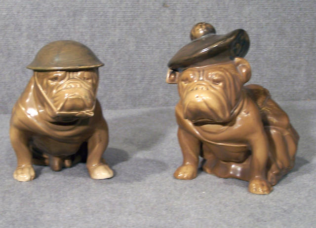 Two Royal Doulton khaki Bulldogs largest 7 1/2 in. (19 cm.) printed factory marks in green