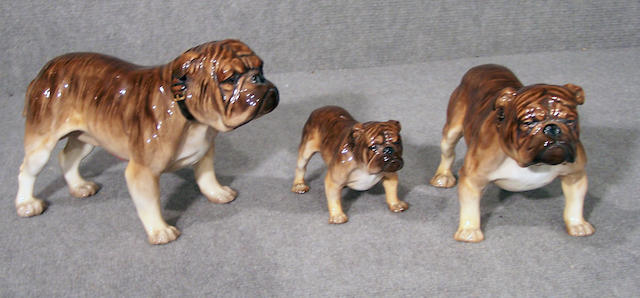 Group of three Royal Doulton brindle Bulldogs largest 5 1/2 in. (14.0 cm.) smallest has broken and repaired hind quarters