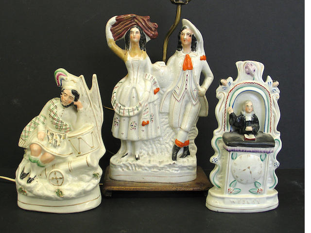 Three Staffordshire pottery groups