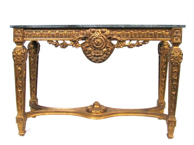 A pair of Louis XVI style gilt consoles