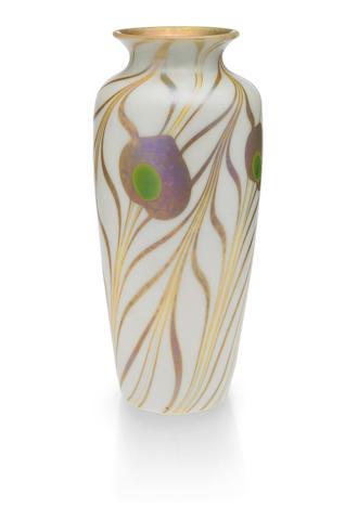 A Steuben gold Aurene on alabaster glass vase