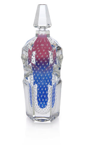 A Steuben Cintra paperweight glass cologne bottle