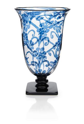 A Steuben blue Intarsia glass pedestal vase