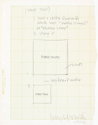 Joseph Kosuth (American, 1945) Drawing for Rubber Stamp, 1966 11 x 8 1/2in