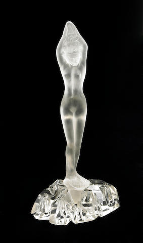 A Steuben satin and hand blown glass figural flower frog: Diving Girl