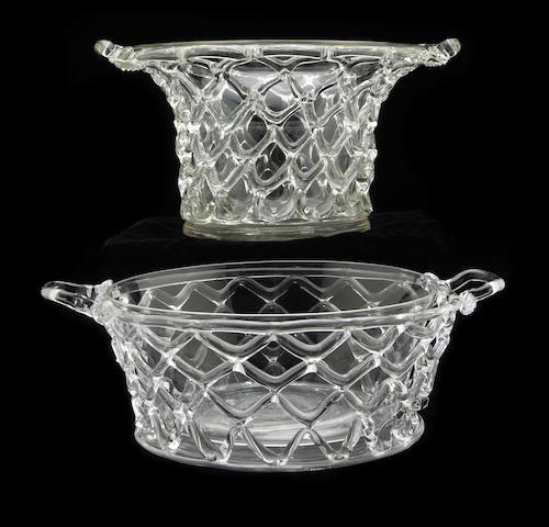 Two Steuben colorless glass lattice baskets