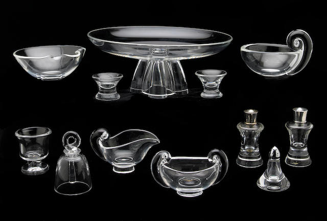 A collection of Steuben clear glass table articles
