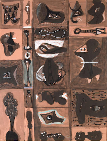 Adolph Gottlieb (American, 1903-1974) Untitled (Pictograph), 1949-50 sight 25 1/2 x 19 1/4in (64.8 x 48.9cm)