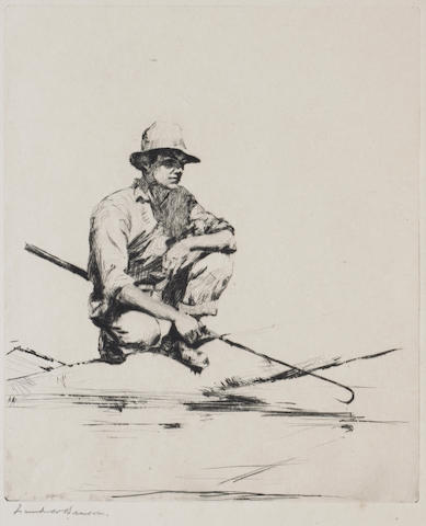 Frank W. Benson; Evening; Man with a Gaff; (2)
