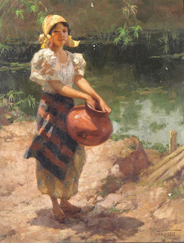 Fernando Cueto Amorsolo (Filipino, 1892-1972) Girl by a River, 1932; also a painting by Hipolita Certeza (2) 16 1/2 x 12 3/4in (41.9 x 32.4cm) 13 x 15 3/4in (33 x 40cm)