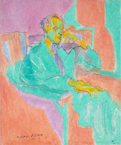 Jacques Villon (French, 1875-1963) Le Philosophe (Portrait of Marcel Duchamp), 1951 18 x 15in (45.7 x 38.1cm)