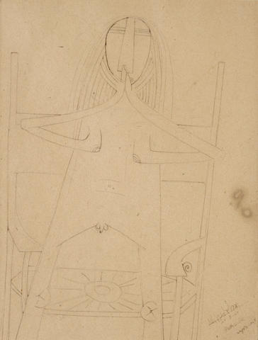 Wifredo Lam, Homme, 1940-41, ink and graphite, 8.7 X 6.7