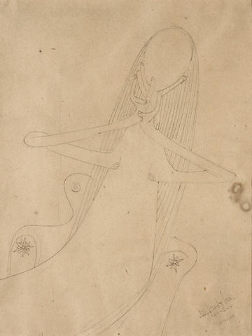 Wifredo Lam, Femme, 1941, ink and graphite, 8.7 X 6.7