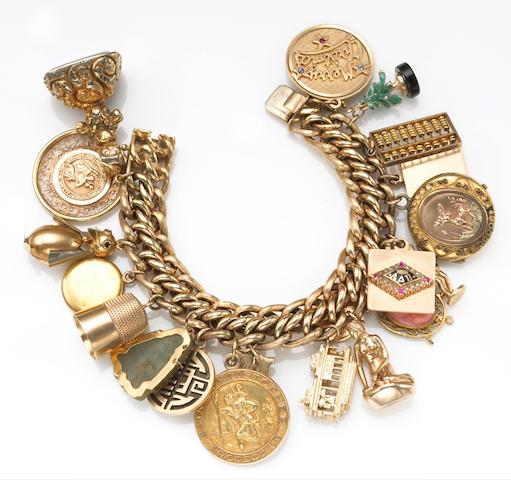 A gem-set, 18k and 14k gold charm bracelet