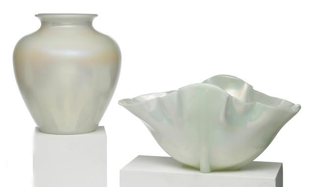 Two Steuben Ivrene glass vessels