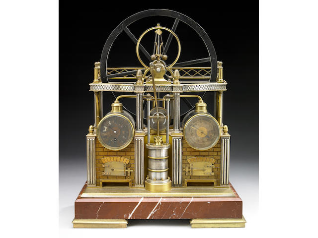 A good French gilt and silvered brass and rouge marble novelty industrial weather station