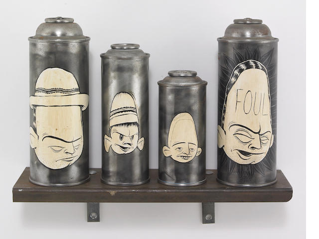 Barry McGee (American b. 1966)  Untitled, 1995 cans: 8 x 9 x 3in (20 x 23 x 7½cm) shelf: 4 x 12 x 3½