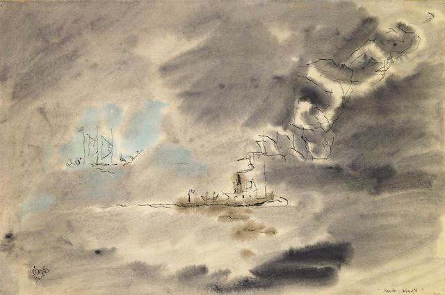 Lyonel Feininger (German, 1871-1956) Smoke-Wreath, 1941 12 1/2 x 18 5/8in (31.7 x 47.3cm)