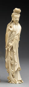 A carved ivory figure of Guanyin