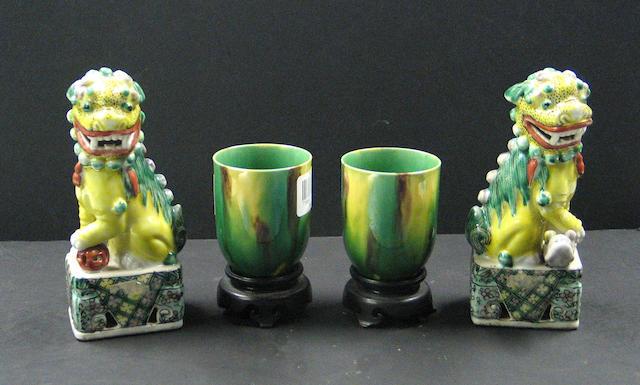 Four famille verte enameled porcelains,