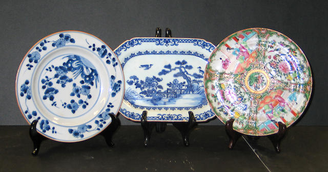 Nine export porcelain dishes 18th and 19th Centuries