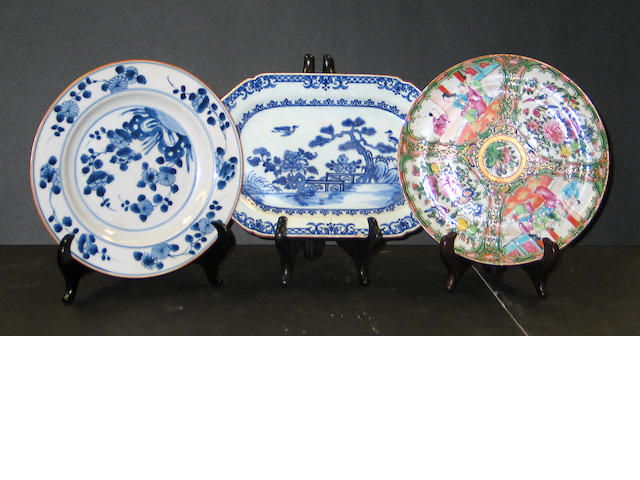 Nine export porcelain dishes,  18th and 19th Centuries