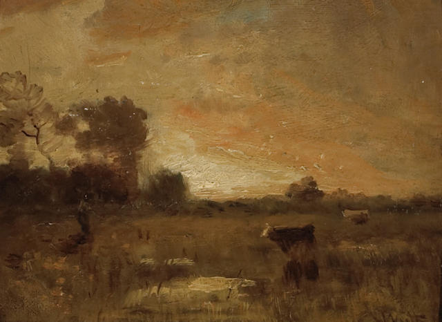 William Keith (Scottish/American, 1838-1911) Pastoral Landscape 8 x 10in