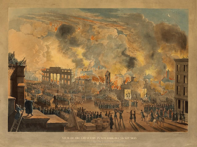 William James Bennett; View of the Great Fire in New York, Dec. 16th & 17th, 1835; View of the Ruins after the Fire, in New York, Dec. 16th & 17th, 1835; (2)