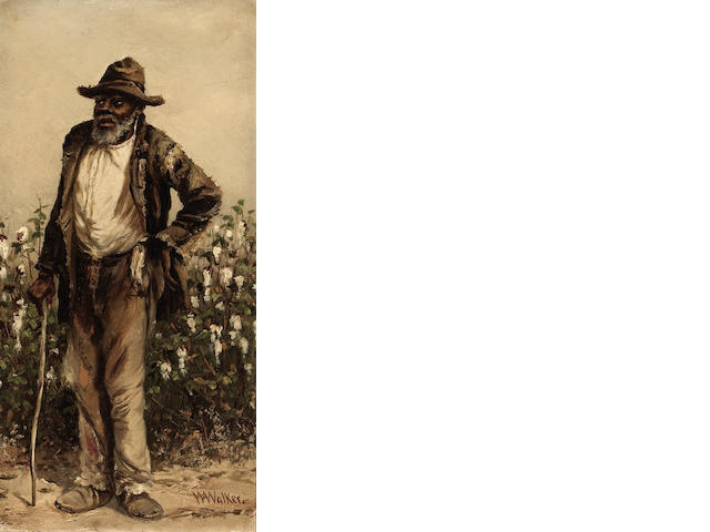 William Aiken Walker Man Standing by a Cotton Field oil on board  12 x 16