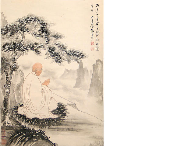School of Zhang Daqian(1899-1983): Luohan Under Pine