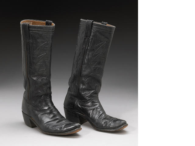 A Keith Godchaux pair of black leather cowboy boots by 'Nudie's'