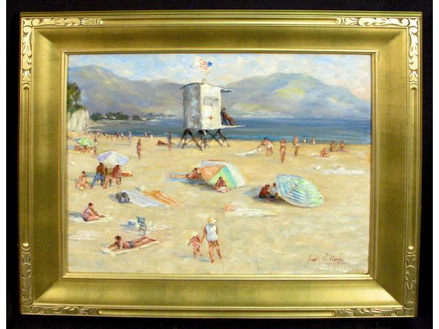 Joseph R. Areno (American, 1950-2006) Santa Barbara Beach 20 x 24in