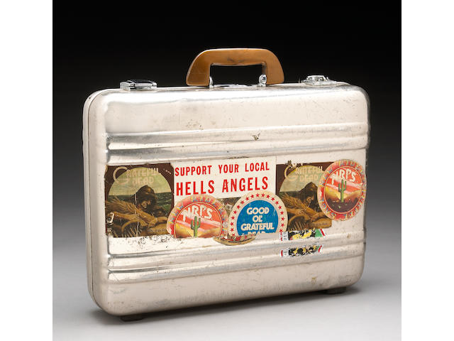 A metal attaché case used by Ram Rod to transport important items for the Grateful Dead while on tour, 1970s-1990s