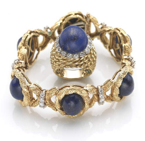 A lapis lazuli, diamond and eighteen karat gold bracelet and ring