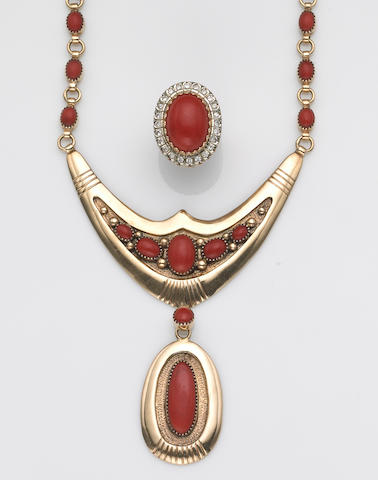 A coral and gold necklace and ring