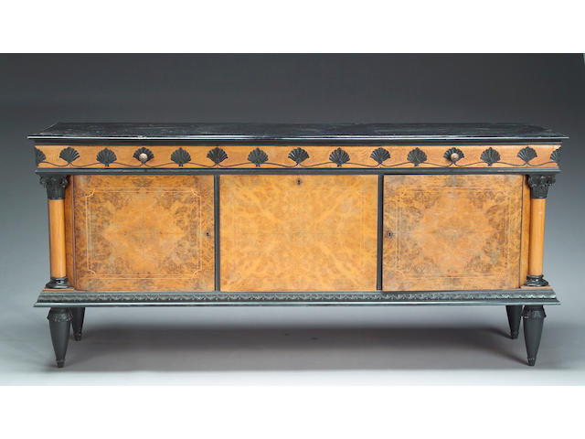 A French Art Deco parcel ebonized buffet