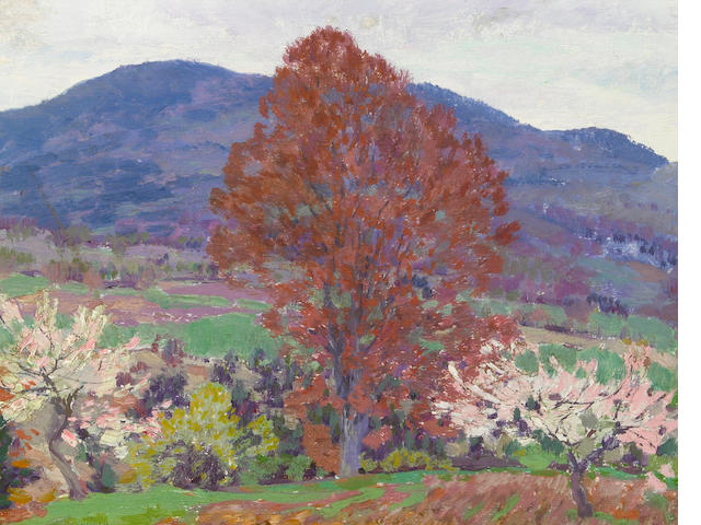 Lawrence Mazzanovich (American, 1872-1959) New Hampshire in the Spring 10 1/2 x 13 3/4in