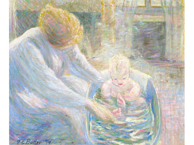 Theodore Earl Butler (American, 1861-1936) The Bath, Giverny, 1894 21 1/2 x 25 1/4in