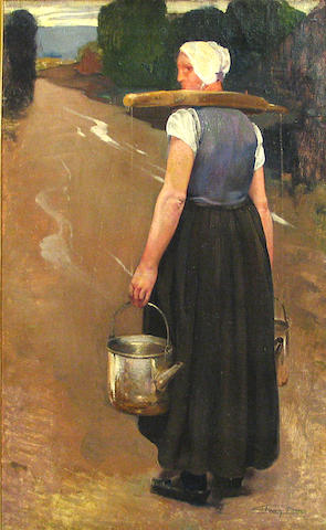 Firmin Baes (Belgian, 1874-1945) A Breton woman carrying water 27 1/2 x 17 3/4in
