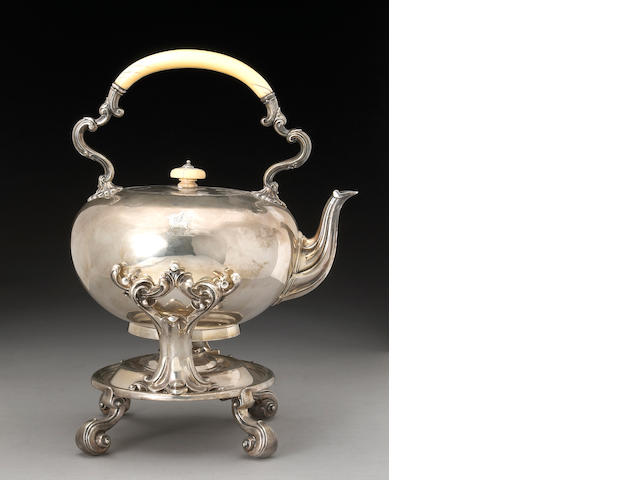 Victorian Silver and Ivory Kettle on Lamp Stand by Robert Garrard