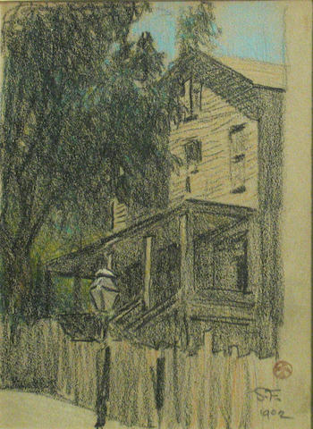 Maynard Dixon, Old San Francisco House, crayon on paper, 6 x 4 1/2 in.