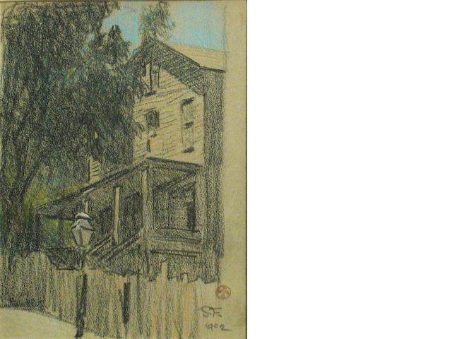 Maynard Dixon, Old San Francisco House, crayon on paper, 6 x 4 1/2 in.
