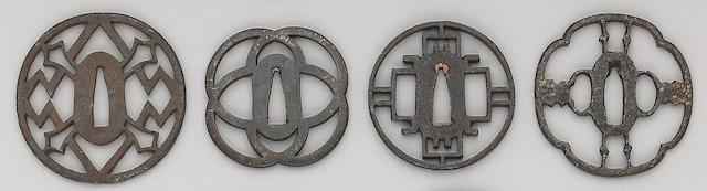 Six iron sukashi tsuba Edo Period